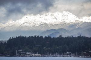 USA, Washington. Olympic Mountains behind Brownsville Marina. by Trish Drury