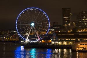 USA, Washington, Seattle. Seattle Great Wheel at Night on Pier 67 by Trish Drury