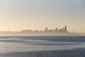 USA, Washington State. Morning fog Seattle. Calm Puget Sound. Variety of boat traffic. Waterfront s by Trish Drury