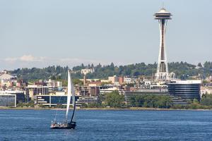 USA, Washington State, Seattle. Sailboat tour on Puget Sound passing Space Needle by Trish Drury