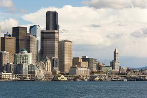 USA, Washington State. Seattle waterfront on brilliant day by Trish Drury