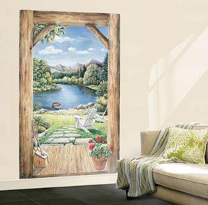 Trompe L'Oiel Log Cabin Doorway Accent With View Huge Mural Art Print Poster