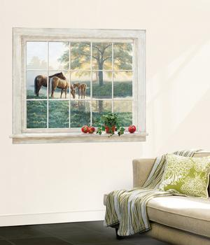 Trompe L?Oiel Mare And Foal Framed Accent Wall Decal