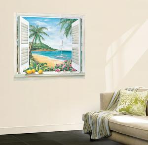Trompe L'Oiel Tropical Paradise Window Accent Huge Mural Art Print Poster