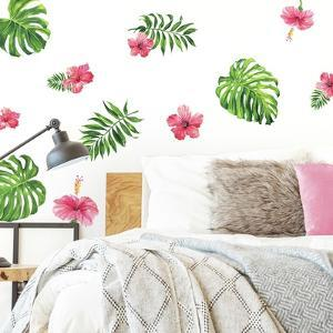 TROPICAL HIBISCUS FLOWER PEEL AND STICK WALL DECALS