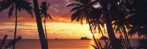 Tropical Sunset Panorama Art Print Poster