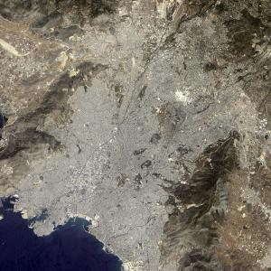 True-Color Satellite View of Central Athens, Greece