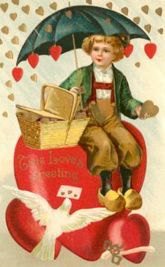 True Loves Greeting, Boy with Umbrella on Heart