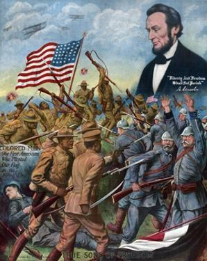 True Sons of Freedom Poster with African-American Soldiers Fighting German Soldiers