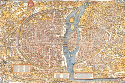 Plan of Paris from 1553 by Truschet et Hoyau