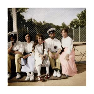 Tsar Nicholas II of Russia with His Daughters on the Tennis Court, Early 20th Century