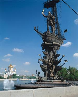 Tsar Peter the Great Monument and Cathedral of Christ the Saviour, Moscow, Russia