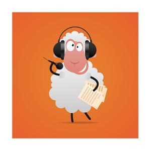Cheerful Sheep in Headphones Singing in Microphone by tsirik