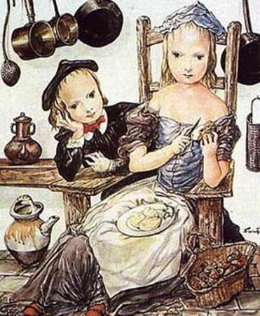 In the Kitchen by Tsuguharu Foujita