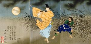 A Triptych of Fujiwara No Yasumasa Playing the Flute by Moonlight by Tsukioka Kinzaburo Yoshitoshi