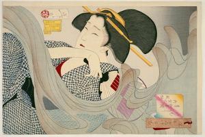 Looking Smoky. a Housewife of the Kyowa Era Kemuso Kyowa Nenkan Naishitsu No Fuzoku, 1880 by Tsukioka Kinzaburo Yoshitoshi