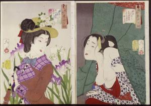 Strolling: the Appearance of an Upper-Class Wife of the Meiji Era and Itchy by Tsukioka Kinzaburo Yoshitoshi