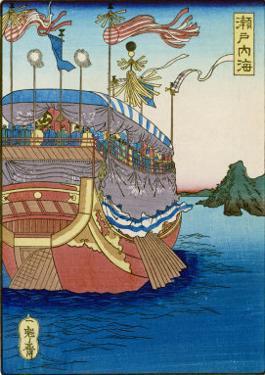 The Pleasure-Barge of a Daimyo of the Togugawa Era on the Inland Sea by Tsukioka Kinzaburo Yoshitoshi