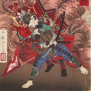 Okubo Hikozaemon Rescuing Tokugawa Ieyasu on the Battlefield, 1881 by Tsukioka Yoshitoshi