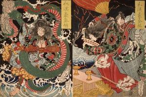 Tawaraya T?da & Dragon & Ono no Komachi Praying for Rain, Series Valour in China and Japan, 1868 by Tsukioka Yoshitoshi