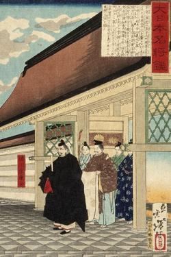 Tokugawa Ieyasu at Entrance to a Palace from the Series A Mirror of Great Warriors of Japan, c.1876 by Tsukioka Yoshitoshi