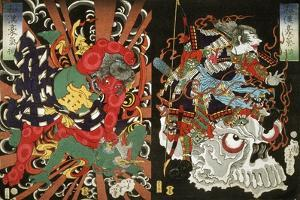 Warrior on Skull and Kintoki Overpowering a Demon, from the Series Valour in China and Japan, 1868 by Tsukioka Yoshitoshi
