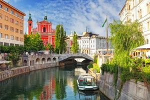 Ljubljana - Slovenia (Church and River Ljubljanica) by TTstudio