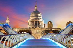 Millennium Bridge Leads to Saint Paul's Cathedral in Central London at Night by TTstudio