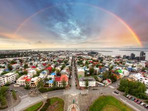 Reykjavik Cityspace with Rainbow by TTstudio