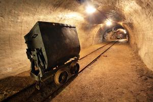 Underground Train in Mine, Carts in Gold, Silver and Copper Mine. by TTstudio