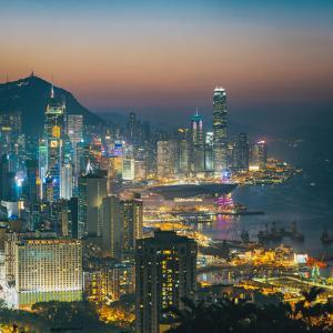 View of Hong Kong Victoria Harbour at Night by Tuimages