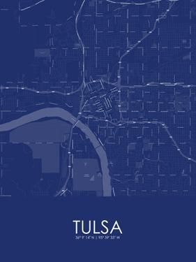 Tulsa, United States of America Blue Map