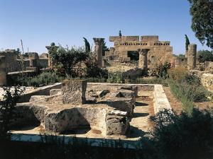 Tunisia, Utica, Ruins of House of Cascades, with Peristyle Garden at Archaeological Site