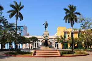 Matanzas, Cuba - Main Square. Palm Trees and Statue Depicting Jose Marti and Liberty. by Tupungato