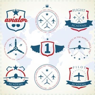 Set Of Vintage Aviation Labels by Tur