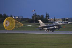 Turkish Air Force F-16D Landing with Parachute Deployed