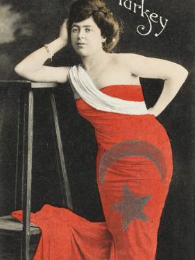Turkish Woman Wearing the Turkish Flag