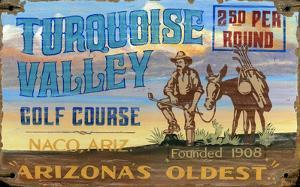 Turquoise Valley Golf Course Vintage Wood Sign