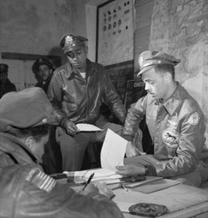 Tuskegee Airmen Woodrow W. Crockett and Edward C. Gleed, Ramitelli, Italy, March 1945