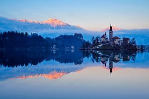 Slovenia, Bled, Lake Bled and Julian Alps, Church of the Assumption by Tuul And Bruno Morandi