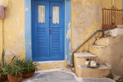 Blue Door, Ermoupoli (Khora), Syros Island, Cyclades, Greek Islands, Greece, Europe