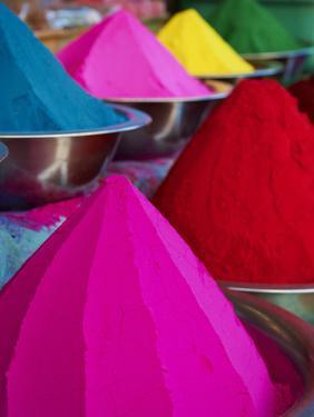 Coloured Powders for Sale, Devaraja Market, Mysore, Karnataka, India, Asia by Tuul
