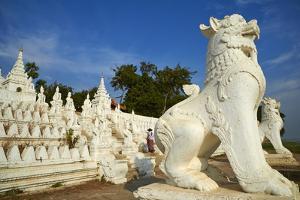 Lion Statue, Paya Settawya Temple, Mingun, Sagaing, Myanmar (Burma), Asia by Tuul