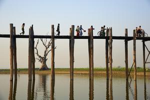 Taung Thama Lake and U Bein Bridge at Amarapura, Mandalay Province, Myanmar (Burma), Asia by Tuul