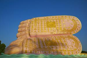 The Decorated Feet of the Mya Tha Lyaung Reclining Buddha One of the Largest in the World by Tuul