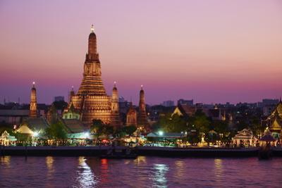 Wat Arun (Temple of the Dawn) and the Chao Phraya River by Night, Bangkok, Thailand