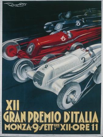 Twelfth Italian Grand Prix at Monza, September 9, 1934 by Plinio Codognato, Poster