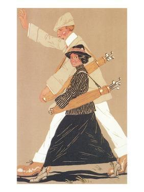 Twenties Couple Golfing