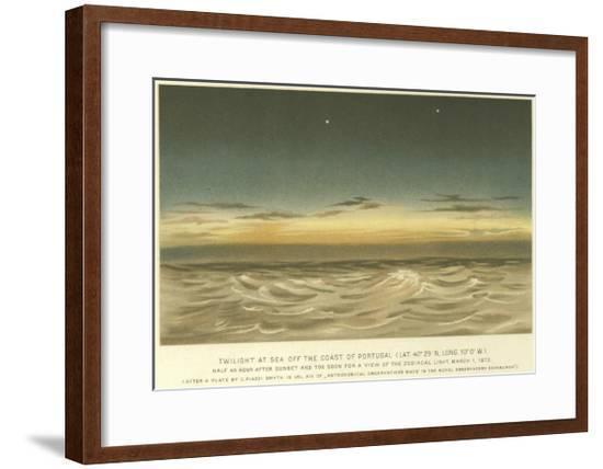 Twilight at Sea Off the Coast of Portugal, Latitude 40° 29' N, Longitude 10° 0' W--Framed Giclee Print