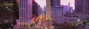 Twilight, Downtown, City Scene, Loop, Chicago, Illinois, USA
